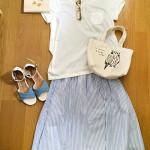 【コーデ】 リラックス Honeys C・O・L・Z・A ブルーストライプスカート