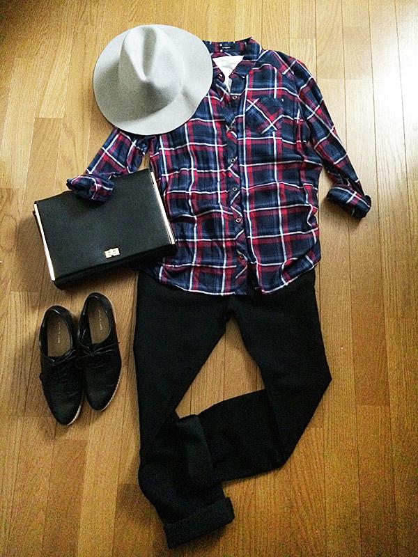 【秋コーデ】しまむらチェックタックシャツ